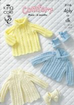 King Cole Baby DK & 4ply Knitting Pattern - 3116 Sweater, Dress, Coat & Bootees